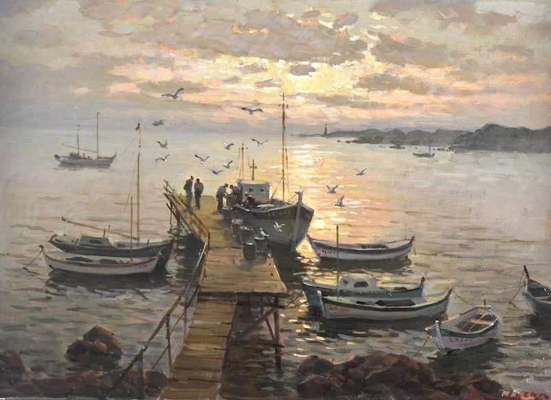 20th Century Russian School. An evening seascape, with