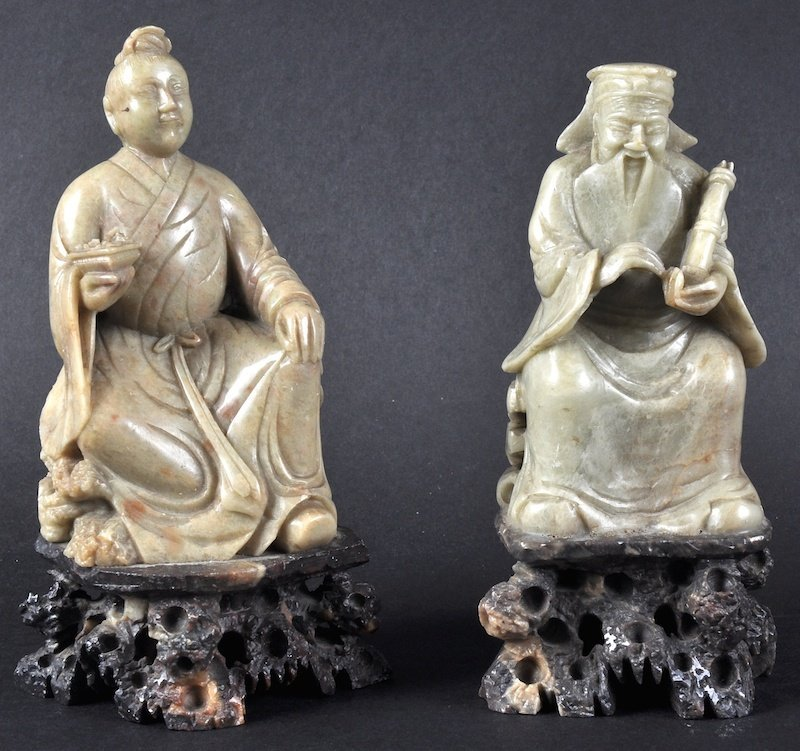 A PAIR OF 19TH CENTURY CHINESE SOAPSTONE FIGURES OF