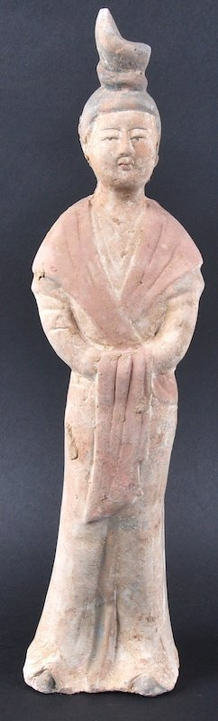 A CHINESE HAN DYNASTY TYPE FIGURE OF A STANDING FEMALE