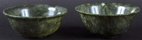 A PAIR OF EARLY 20TH CENTURY CHINESE HARDSTONE BOWLS.