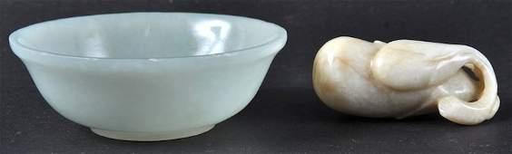 AN EARLY 20TH CENTURY CHINESE WHITE JADE CIRCULAR BOWL