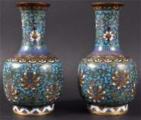 A FINE PAIR OF CHINESE QING DYNASTY CLOISONNE ENAMEL