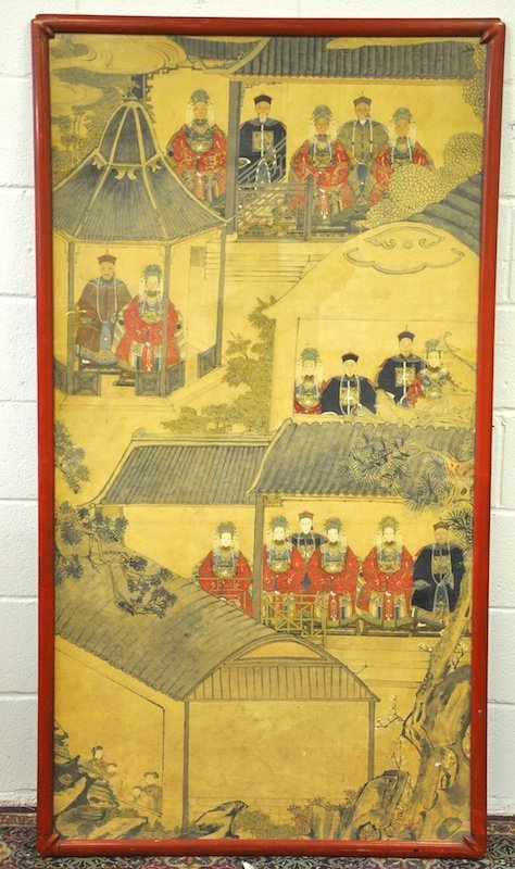 A 19TH CENTURY FRAMED CHINESE INKWORK PANEL depicting a