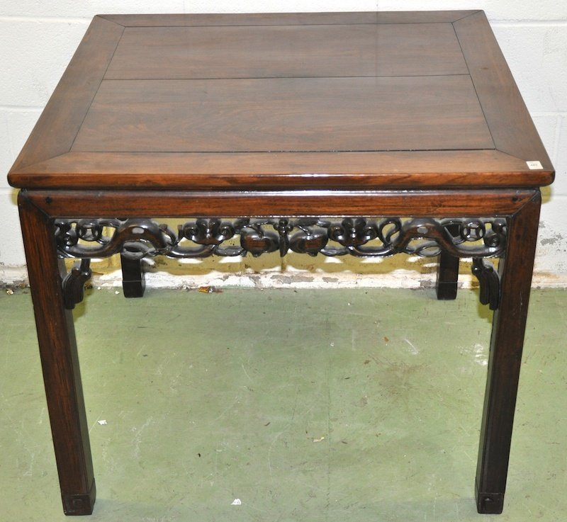 A LOVELY CHINESE CARVED HARDWOOD TABLE of square form,