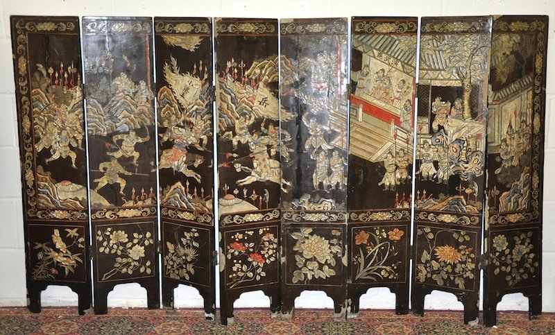 A 19TH CENTURY CHINESE EIGHT PANEL FOLDING SCREEN with