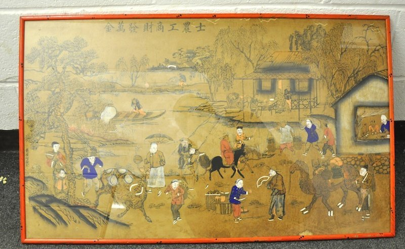 AN EARLY 20TH CENTURY CHINESE FRAMED INKWORK PANEL