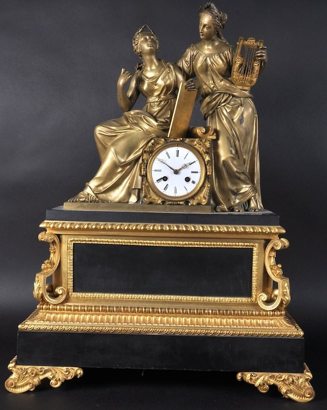 A SUPERB LARGE 19TH CENTURY FRENCH BLACK MARBLE AND