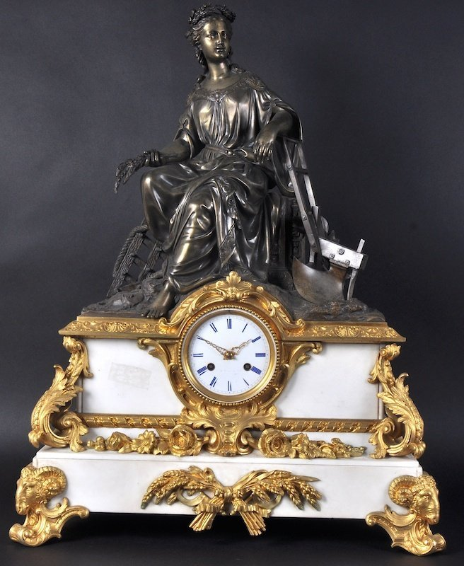 A VERY GOOD 19TH CENTURY FRENCH WHITE MARBLE AND BRONZE