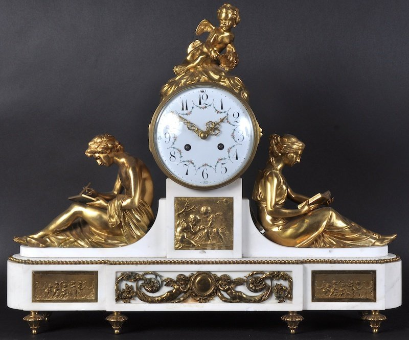A SUPERB 19TH CENTURY FRENCH WHITE MARBLE AND GILT