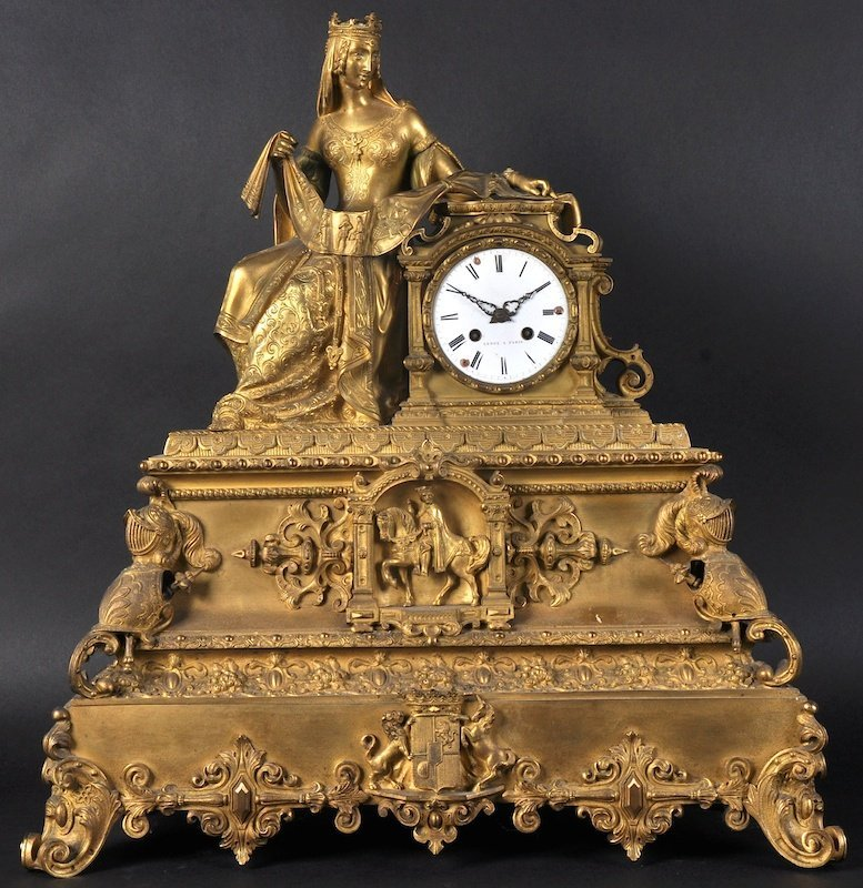A LARGE 19TH CENTURY FRENCH ORMOLU CLOCK with white