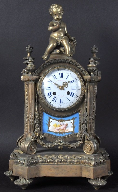 A 19TH CENTURY FRENCH ORMOLU CLOCK by Stainville and