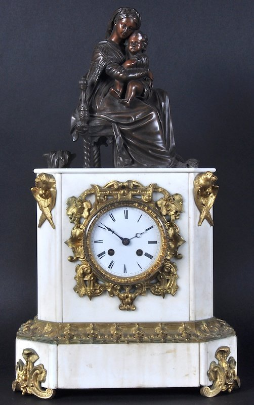 A 19TH CENTURY FRENCH WHITE MARBLE AND ORMOLU CLOCK,