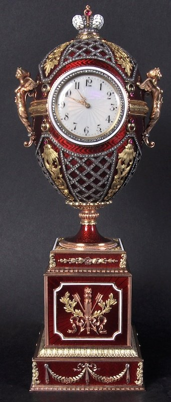 A SUPERB GOLD ENAMEL AND DIAMOND TABLE CLOCK in the