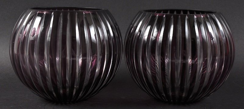 A LARGE PAIR OF SLICE CUT GLOBULAR RUBY VASES.  6ins