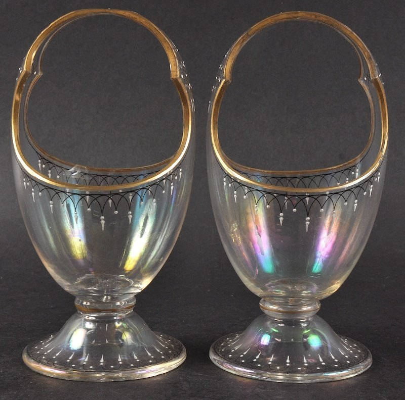 A PAIR OF BONBON BASKETS with looped handles.