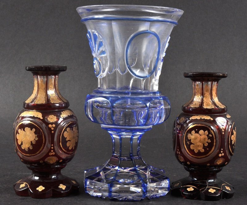 A BOHEMIAN BLUE AND WHITE GOBLET, 6.5ins high and A