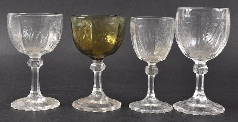 FOUR VARIOUS WEBBS GLASSES engraved with fish.