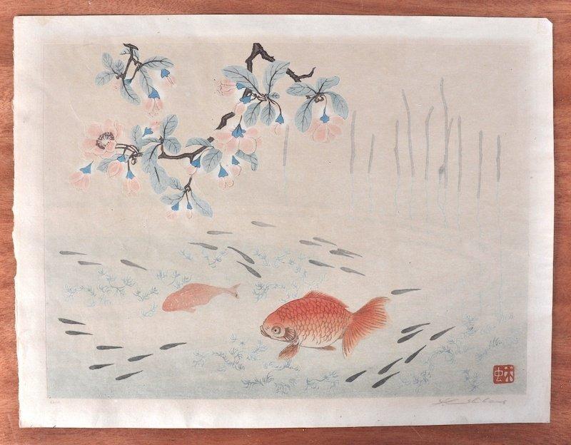 Yoshijiro Urushibara (1888-1953) Chinese. 'Goldfish',