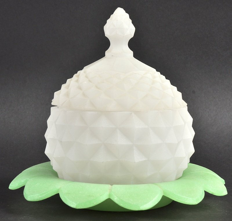 A GOOD OPALINE GLASS PINEAPPLE CIRCULAR BOWL AND COVER
