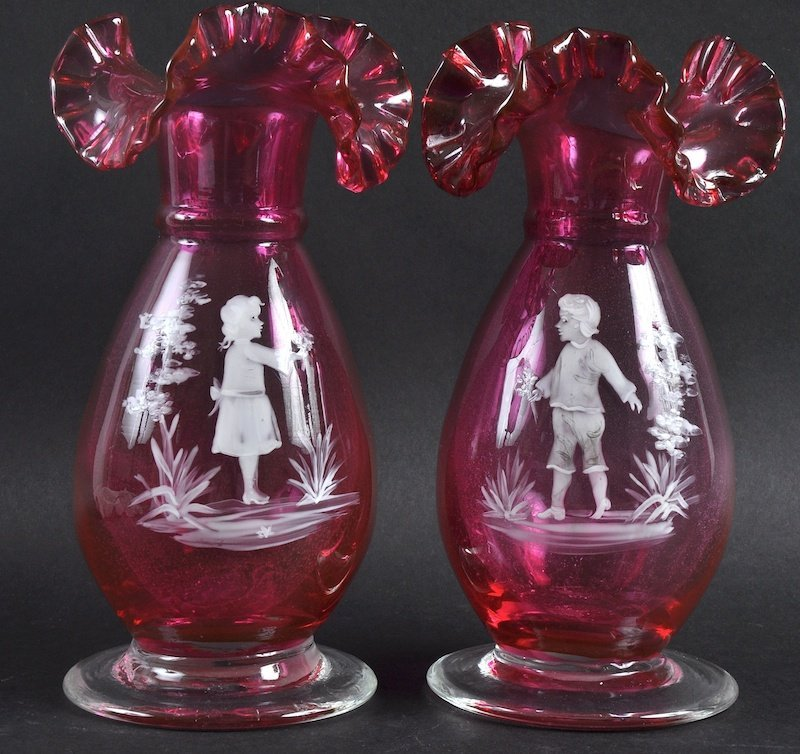 A PAIR OF MARY GREGORY TYPE RUBY GLASS VASES painted