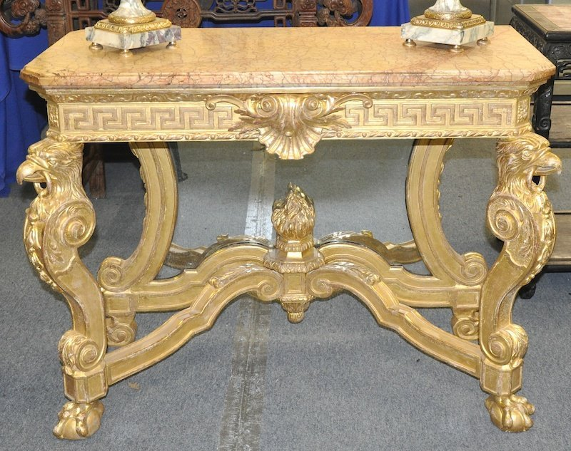 A SUPERB GEORGE II CARVED AND GILDED CONSOLE TABLE with