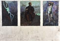20th Century Russian School Untitled A Triptych Oil
