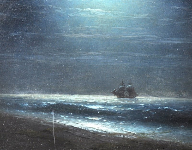 Aiva (20th Century) Russian. A Moonlit coastal scene,