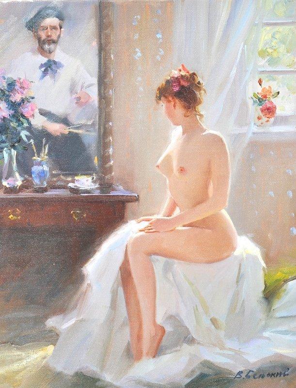 Vladimir Belsky (1949-   ) Russian. A naked artists