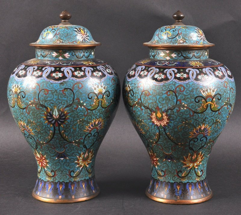 A PAIR OF CHINESE QING DYNASTY CLOISONNE ENAMEL VASES