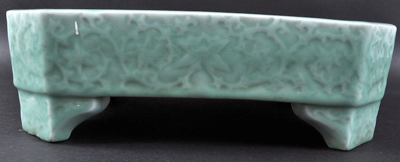 A 19TH CENTURY CHINESE GREEN CELADON OCTAGONAL