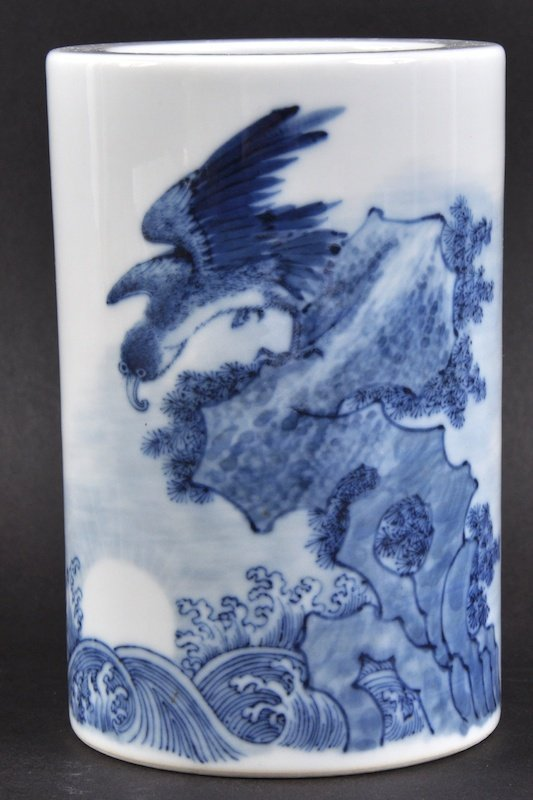 A CHINESE PORCELAIN BLUE AND WHTIE BRUSH POT probably
