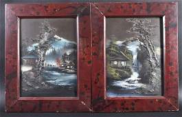 A PAIR OF EARLY 20TH CENTURY JAPANESE LACQUER PAINTINGS