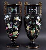 A SUPERB PAIR OF VICTORIAN BLACK TWO HANDLED URN SHAPED
