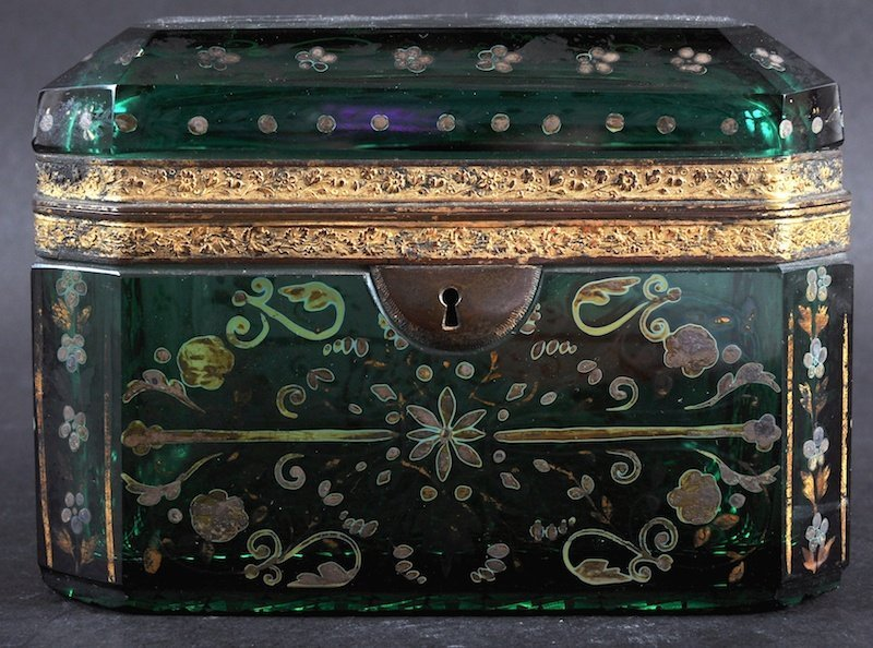 A BOHEMIAN GILT DECORATED CASKET AND COVER with gilt