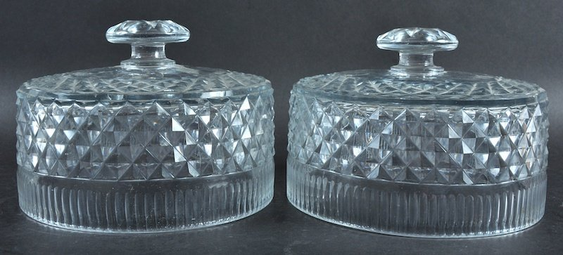 A PAIR OF HOBNAIL CUT CIRCULAR COVERS.  6.5ins
