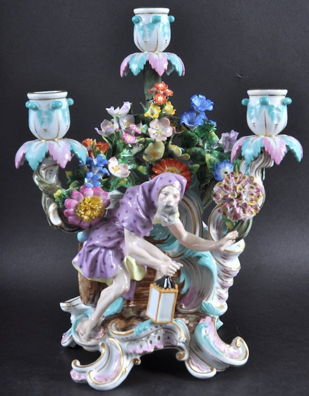 A VERY GOOD 19TH CENTURY MEISSEN THREE LIGHT CANDELABRA