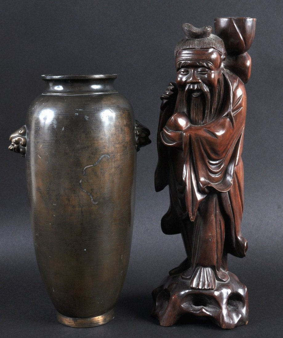 A 19TH CENTURY JAPANESE CARVED ROOTWOOD FIGURE OF A