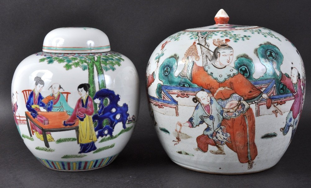 A 19TH CENTURY CHINESE PORCELAIN GINGER JAR AND COVER