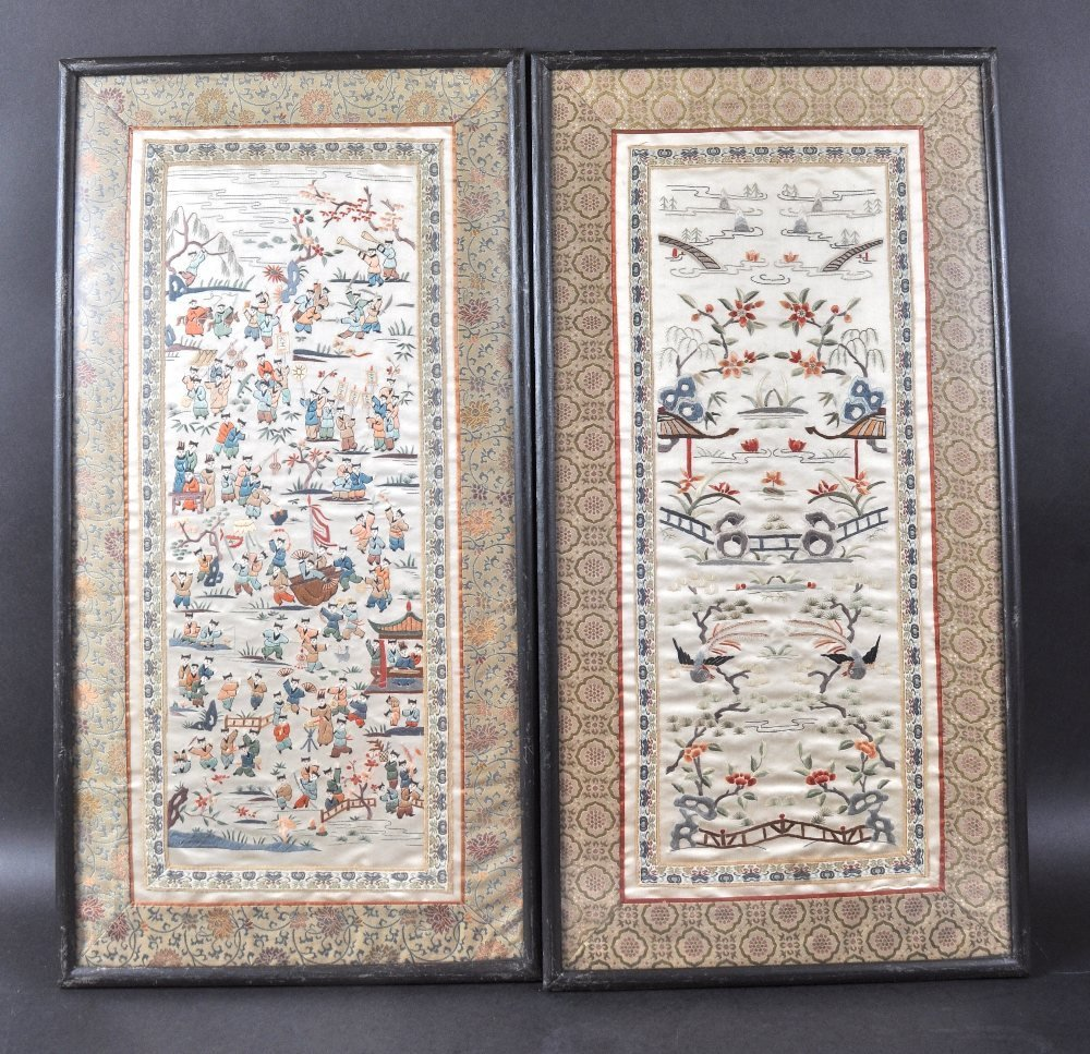 A PAIR OF LATE 19TH CENTURY CHINESE SILKWORK PANELS