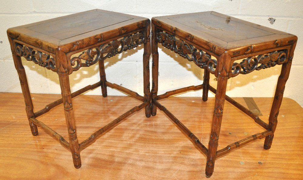 A PAIR OF EARLY 20TH CENTURY HARDWOOD SIDE TABLES with