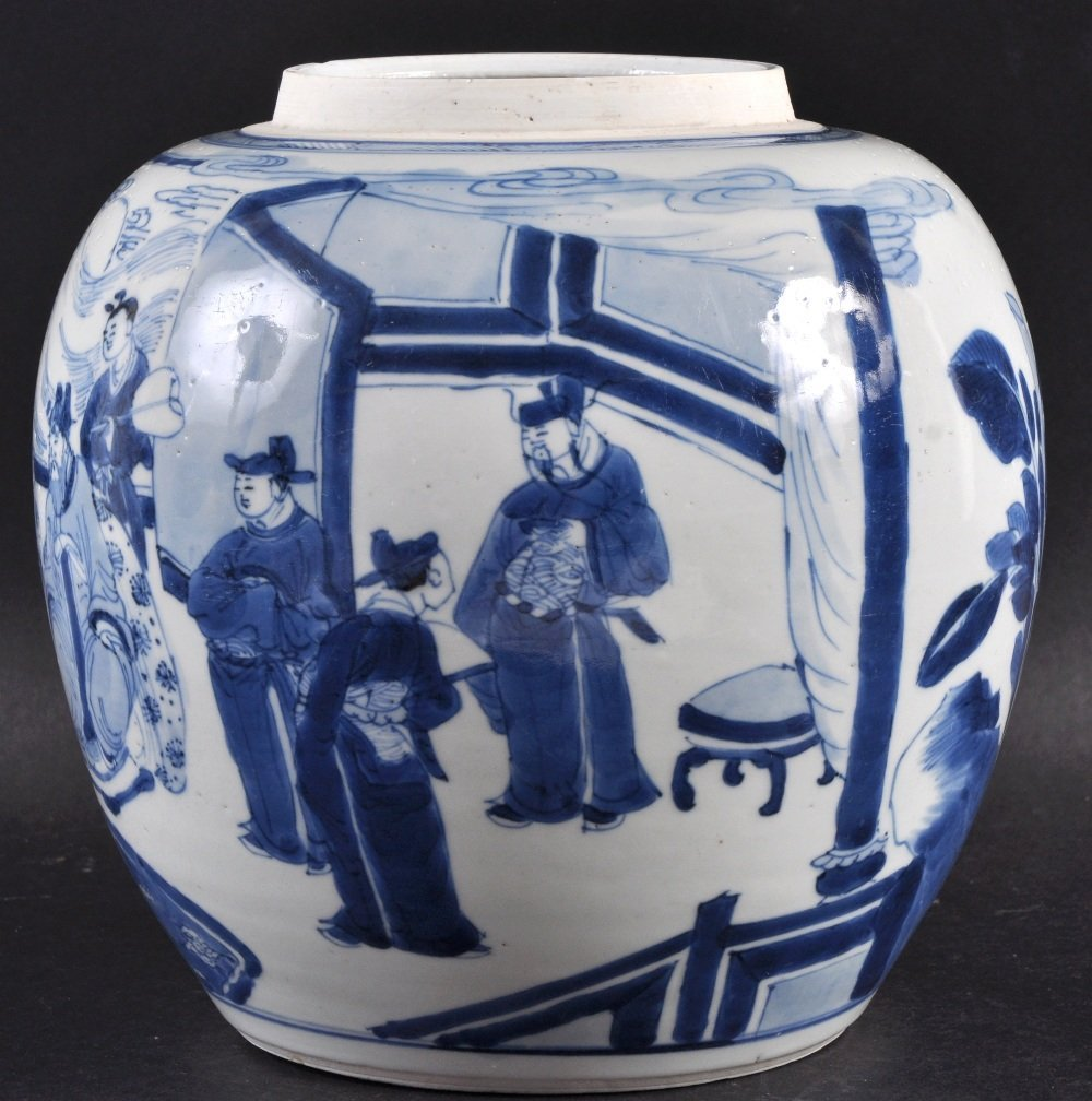 A 17TH CENTURY CHINESE BLUE AND WHITE PORCELAIN GINGER