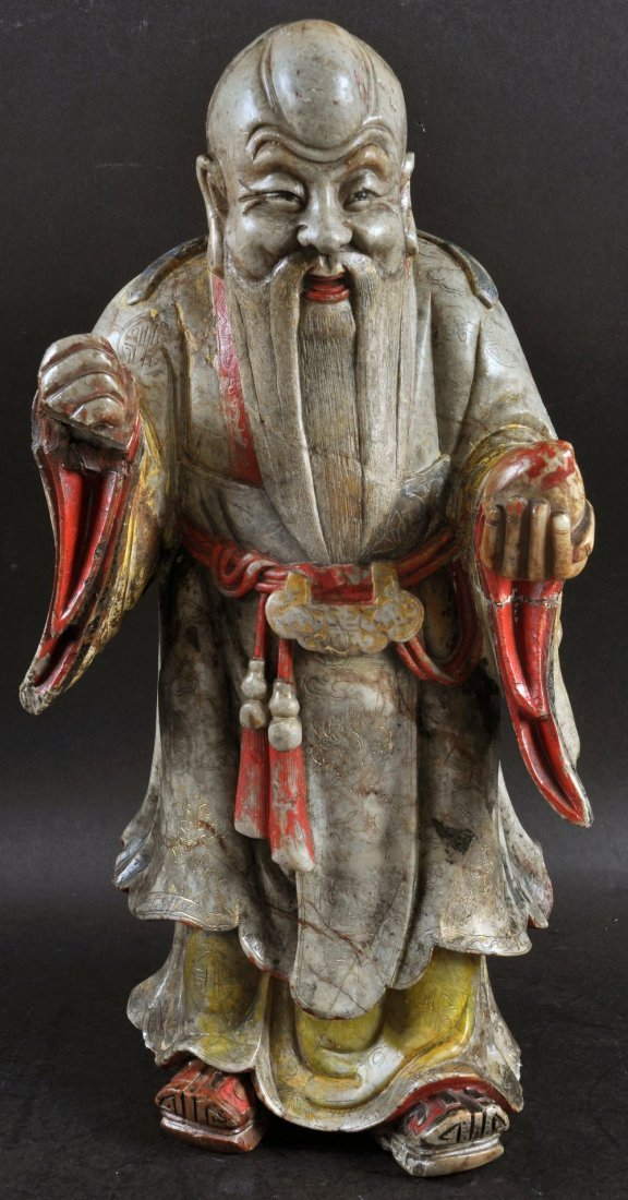 A GOOD LARGE SOAPSTONE FIGURE OF A SAGE, possibly