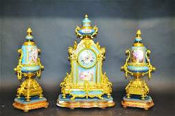 A SUPERB 19TH CENTURY FRENCH SEVRES AND ORMOLU THREE