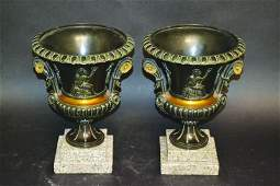 19TH CENTURY FRENCH A SUPERB PAIR OF BRONZE TWO HANDLED
