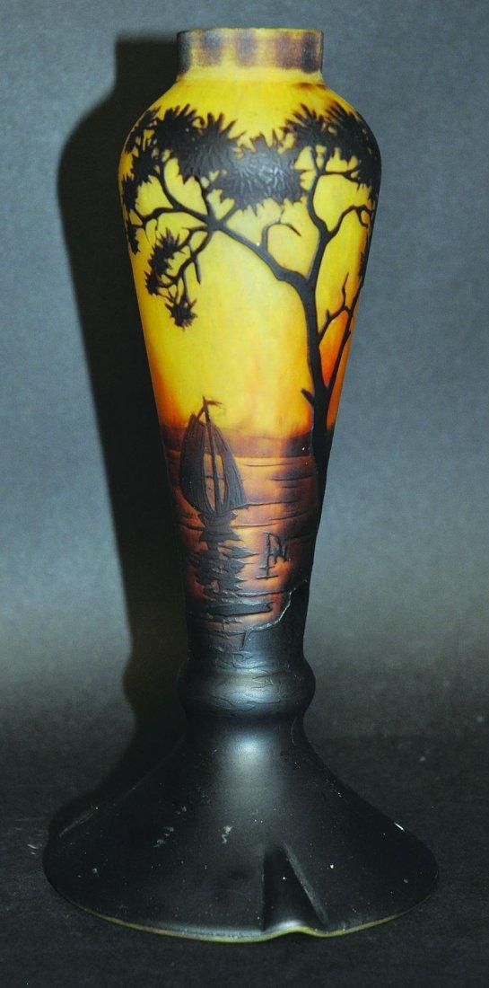 A GOOD DAUM CAMEO GLASS VASE, YELLOW AND BLACK, sailing