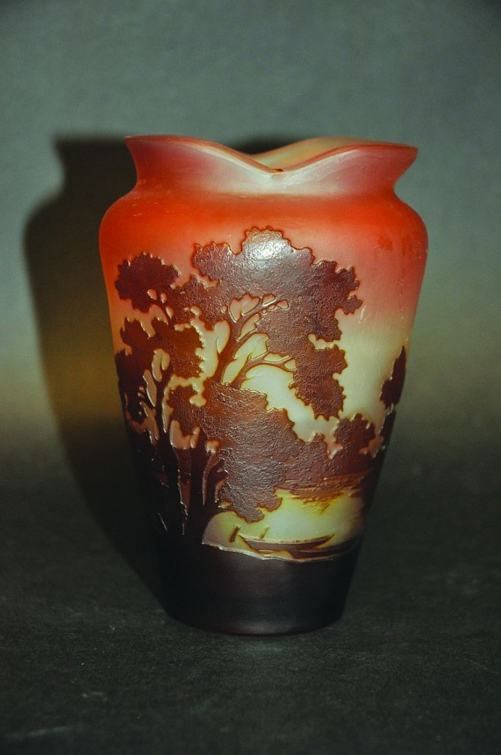 A GOOD GALLE CAMEO GLASS VASE, with a peaceful Lakeland