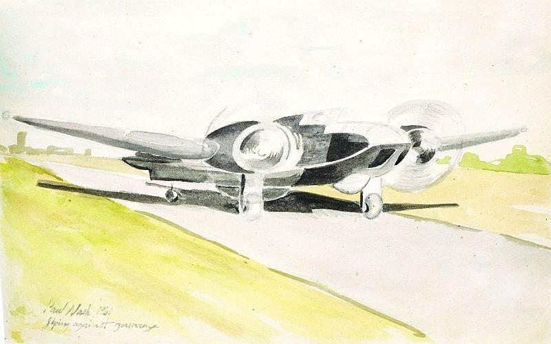 "PAUL NASH (1889-1946) BRITISH ""Flying Against Germany,"