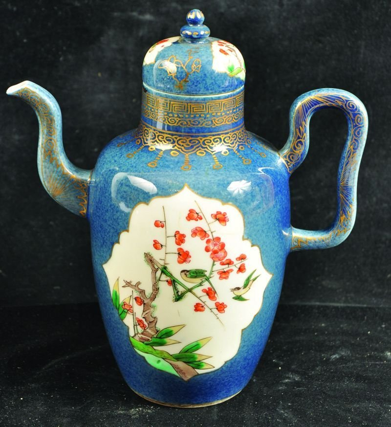 A KANGXI STYLE FAMILLE VERTE POWDER-BLUE GROUND
