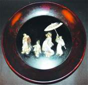 A JAPANESE MEIJI PERIOD INLAID LACQUERED WOOD BOWL