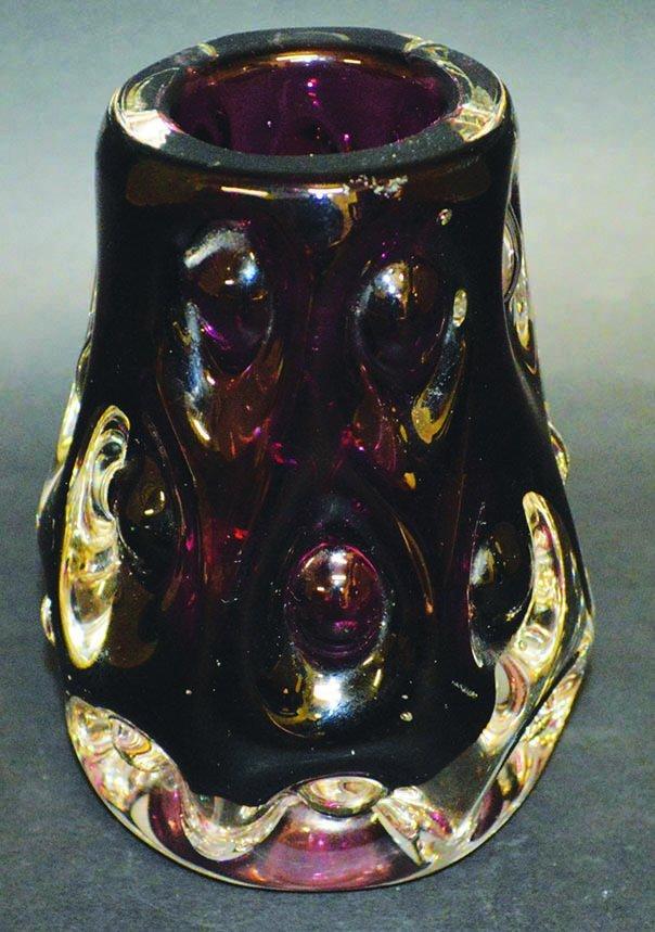 A LISKEARD GLASS NOBBLY VASE designed by J. M. DYER.
